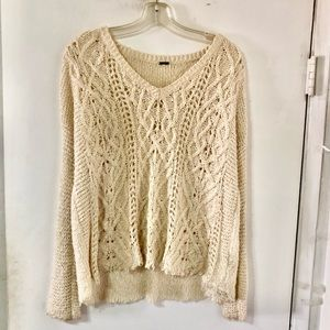 Free People Cream CHUNKY Sweater One Size Slouchy